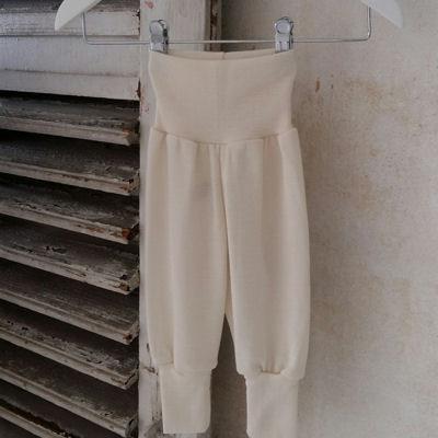 Uld/silke babybukser med bred linning